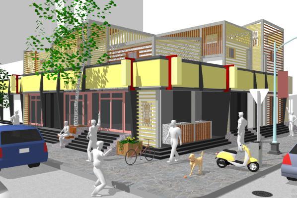 新中式文化馆商店建筑