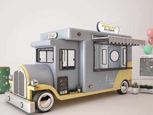 现代快餐车 售货亭 快餐店