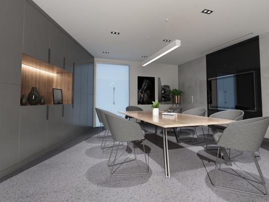 现代会议桌 柜子 吊灯