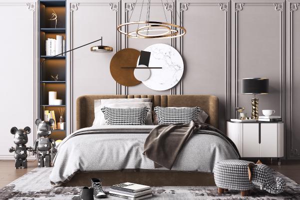 现代双人床 床头柜 艺术吊灯