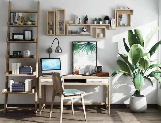 现代书桌椅书架植物摆件组合