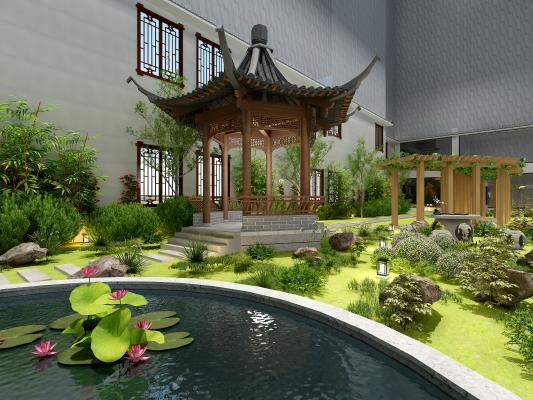 新中式园林水景 水池 花草