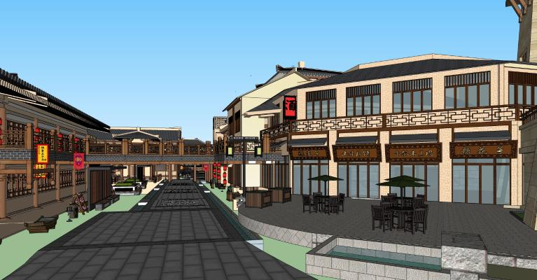 中式唐代古建筑 唐朝商业街 唐代商铺