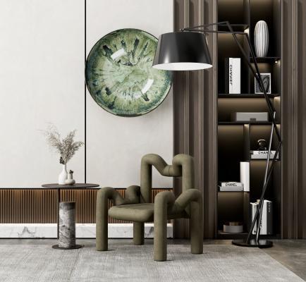 现代休闲椅 角几组合 书柜 墙饰