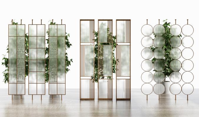 现代隔断屏风 金属 花格玻璃