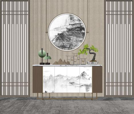 新中式装饰柜 边柜