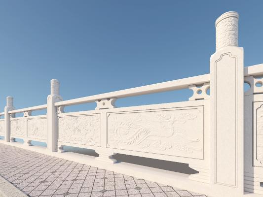 中式建筑构件 汉白玉护栏