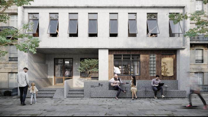 現代咖啡店餐廳建筑
