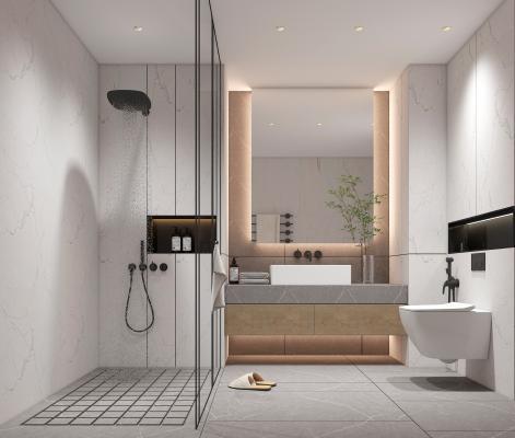 现代卫生间浴室 镜子 浴室柜