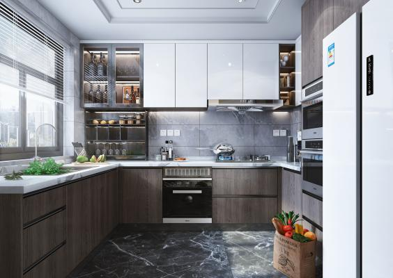 现代风格厨房 橱柜 厨房电器 厨房用品