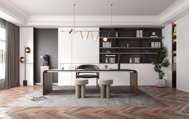 现代风格书房 书桌椅 吊灯