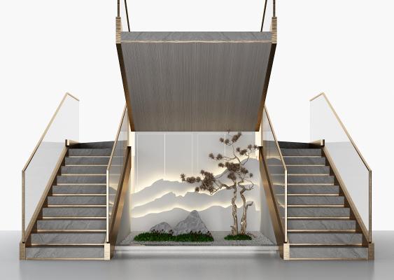 新中式楼梯 山水景观