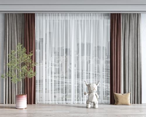 现代窗帘 雕塑 抱枕