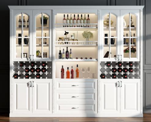 欧式酒柜摆件组合