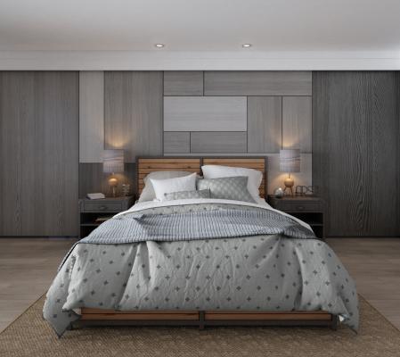 現代簡約雙人床