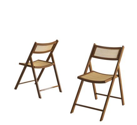 新中式藤編折疊椅