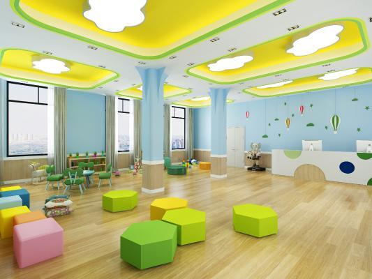 现代幼儿园娱乐室 吸顶灯 前台