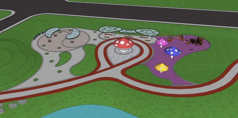 现代公园景观 儿童游乐场 公园娱乐设施 活动广场