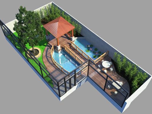 新中式景观亭 室外花园