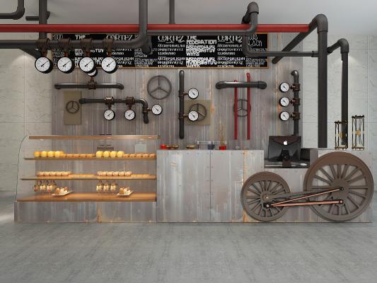 工业风吧台 接待台 面包货柜