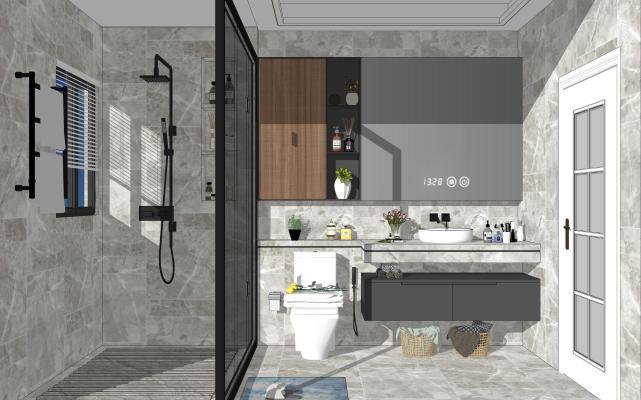 现代家居卫生间 马桶 淋浴组合