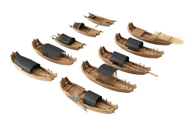 中式渔船木船轻舟组合