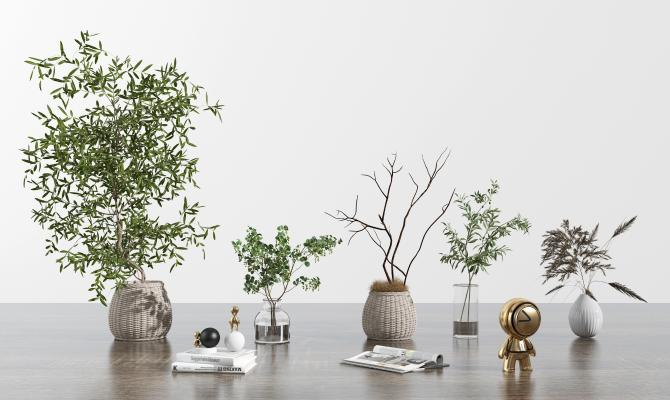 现代绿植花卉 书籍 人物雕塑 玻璃花瓶