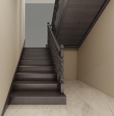 简欧别墅 黑胡桃木艺楼梯