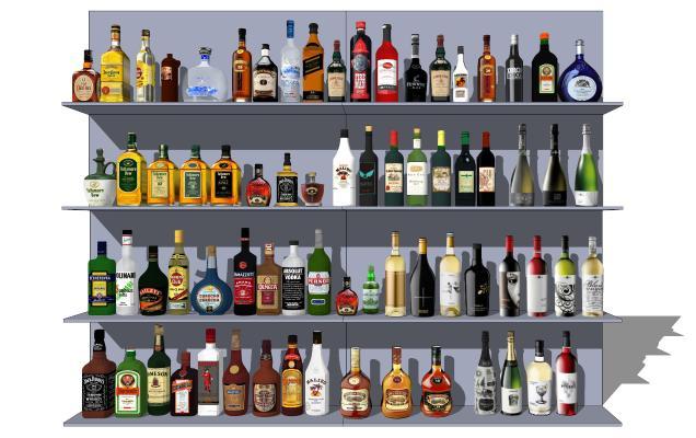 现代酒柜 洋酒 红酒 啤酒 酒瓶组合