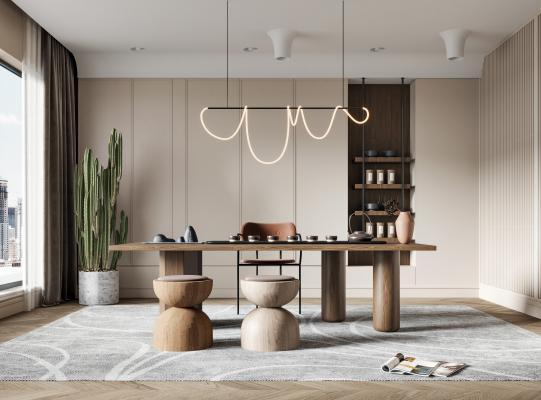 现代茶室 桌椅 盆栽