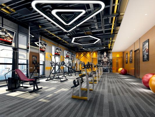 工业风健身房 健身器材