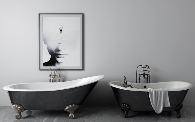 简欧浴缸 毛巾