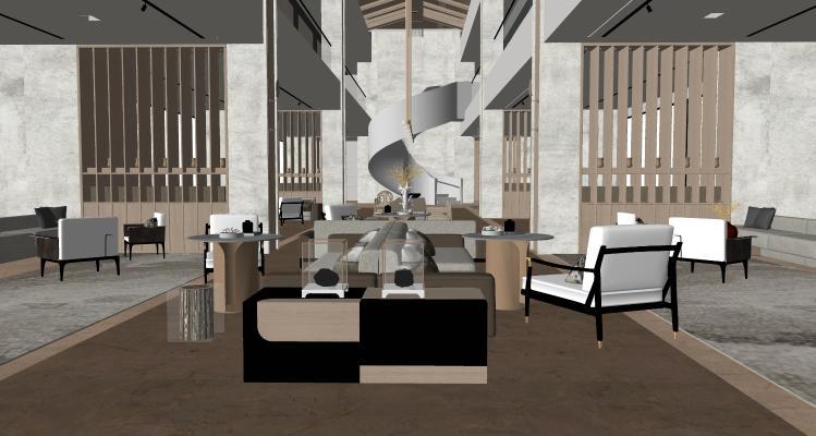 新中式风格售楼处 新中式大堂 新中式酒店休息区