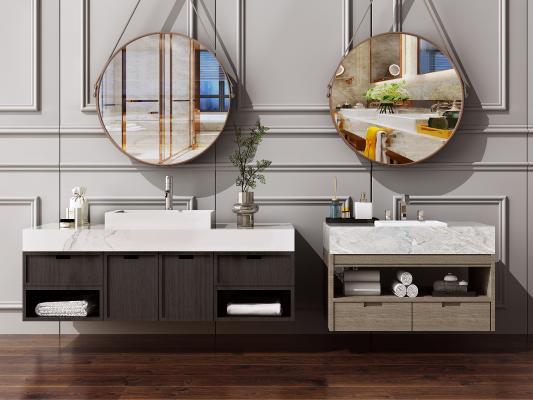 新中式洗手台 卫浴柜 洗漱台 洗脸面盆