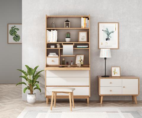 北欧实木梳妆台书柜