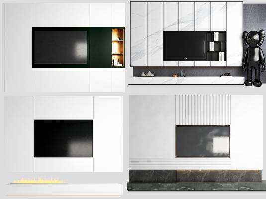 现代大理石电视背景墙 电视柜