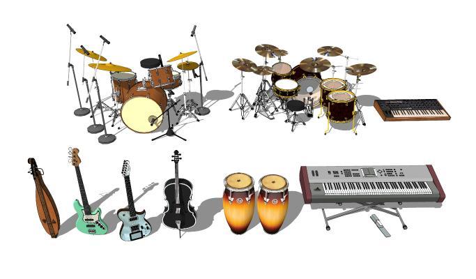 现代风格吉他 架子鼓 音乐乐器器材组合
