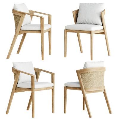 现代编织餐椅 藤艺单椅 实木布艺椅