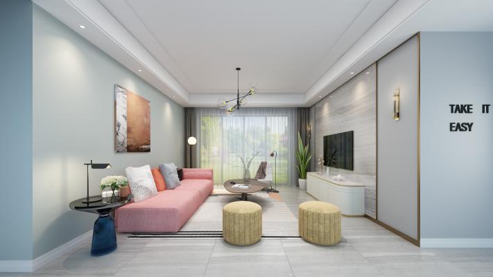 后现代客厅 沙发茶几 吊灯