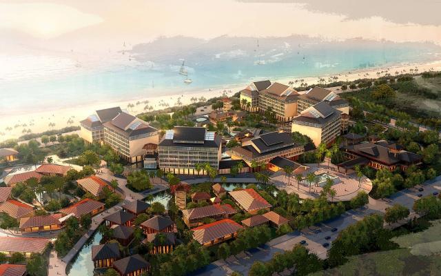 新中式风格住宅区 三亚湾渡假酒店 酒店建筑