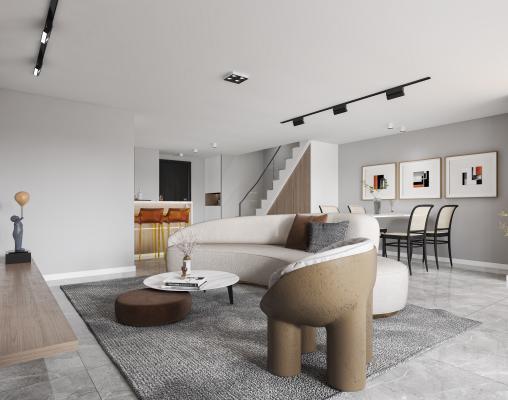 现代复式客厅 公寓