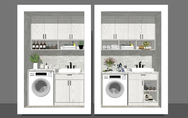 北欧风格家居阳台 阳台柜 洗手台洗衣机组合