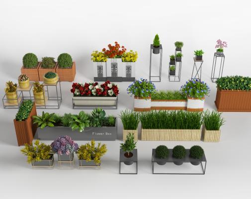 现代户外绿植盆栽 花箱 花坛