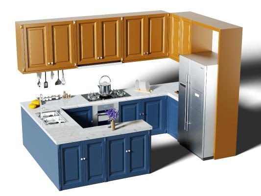 地中海厨房橱柜 厨具 冰箱