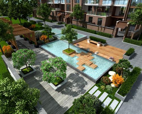 现代小区园林景观 绿植 城市