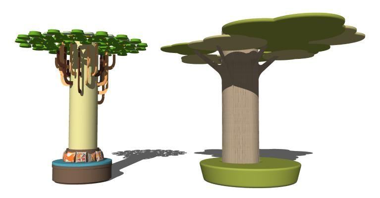 现代室内幼儿园室内柱子 树形座椅 幼儿园柱子