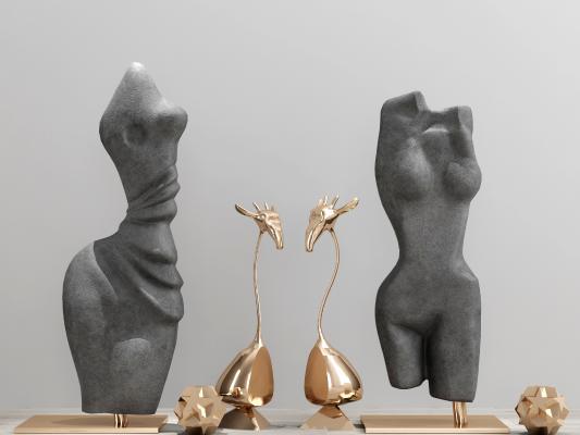 现代金属石头雕塑摆件