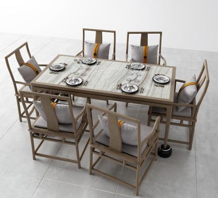新中式餐桌 扶手椅