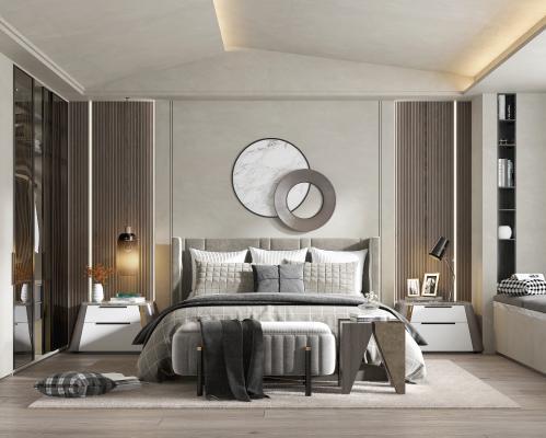 现代卧室 床品 吊灯 椅子 化妆台 床位凳 台灯 衣柜