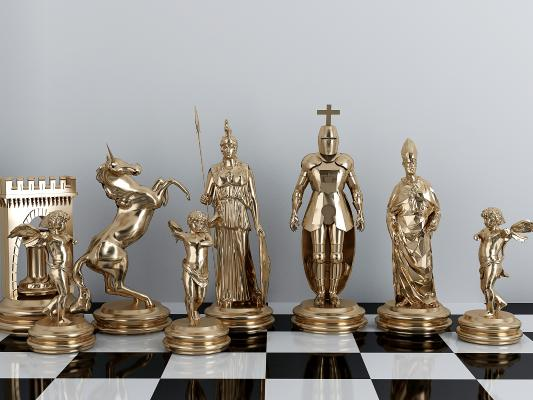 现代国际象棋人物雕塑摆件